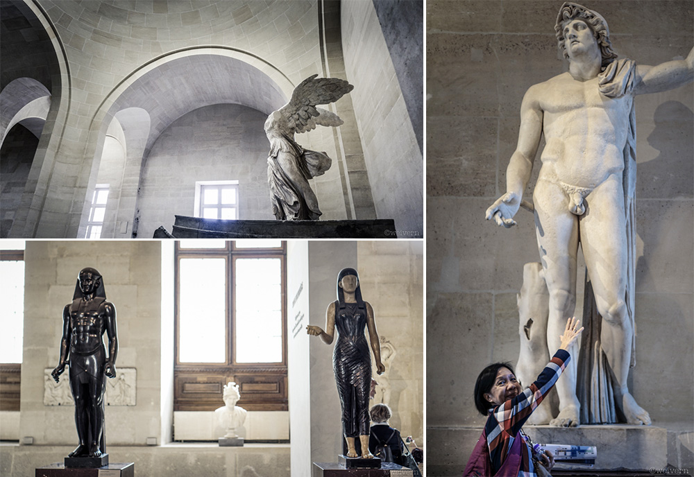 --- There are plenty of statues to see as well. Clockwise from top left: The Winged Victory of Samothrace; Mom being cheeky with Alexander the Great; Osiris and Isis